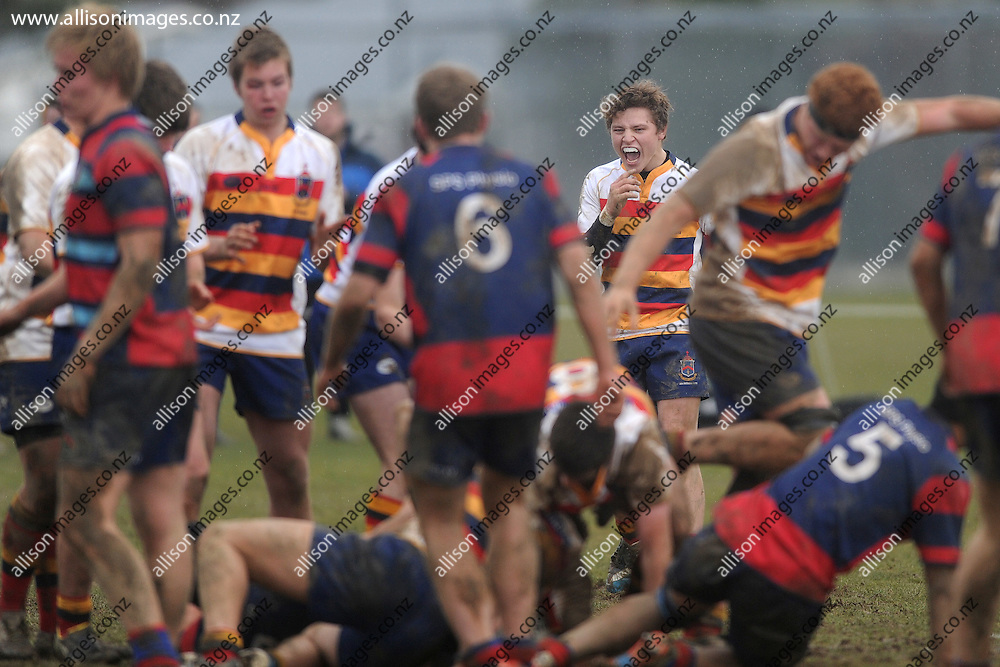 Daine Lowery of John McGlashan College celebrates a penalty, during the Otago Secondary Schools Competition final between John McGlashan College 1st XV and South Otago High School 1st XV, held at John McGlashan College, Dunedin, New Zealand, on the 8th of August 2015, Credit: Joe Allison / allisonimages.co.nz