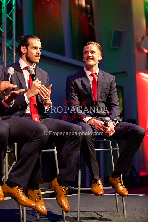 CARDIFF, WALES - Wednesday, June 1, 2016: Wales' Gareth Bale and Andy King during a Q&A at a charity send-off gala dinner at the Vale Resort Hotel ahead of the UEFA Euro 2016. (Pic by David Rawcliffe/Propaganda)