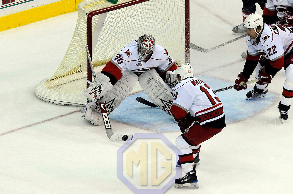08 February 2008:  Carolina Hurricanes goalie Cam Ward (30) makes a save in the 3rd period against the Washington Capitals at the Verizon Center in Washington, D.C.  The Hurricanes defeated the Capitals  2-1.