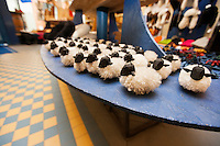 Toy sheep for sale displayed in supermarket