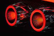 Manhattan, New York, USA. April 12, 2017.  Spyker C8 Preliator illuminated red tail lights are seen close-up at the Exotics section of the New York International Auto Show, NYIAS, during the first Press Day at the Javits Center. Only 50 Preliators will be produced in this exclusive series by the Dutch company Spyker.