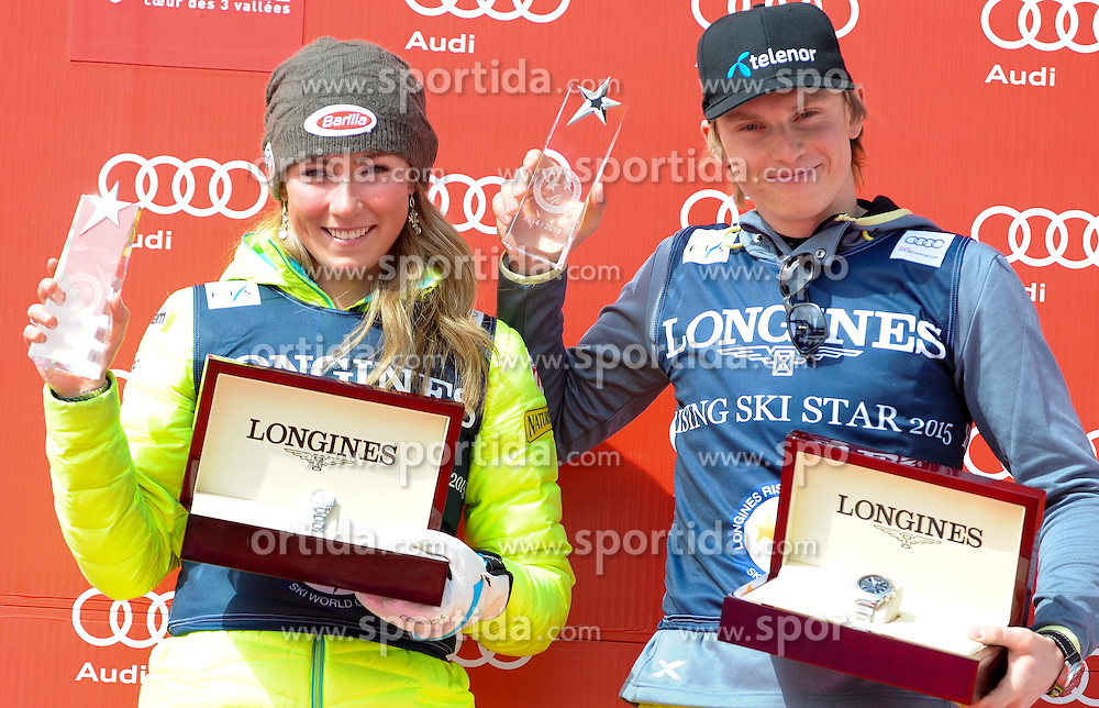 19.03.2015, Roc de Fer, Meribel, FRA, FIS Weltcup Ski Alpin, Meribel, Siegerehrung, Racing Star, im Bild Mikaela Shiffrin (USA), Henrik Kristoffersen (NOR) // Mikaela Shiffrin of the USA ( L ), Henrik Kristoffersen of Norway ( R ) during winner Ceremony for the Racing Star of FIS World Cup finals at the Roc de Fer in Meribel, France on 2015/03/19. EXPA Pictures © 2015, PhotoCredit: EXPA/ Erich Spiess