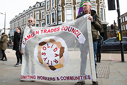 London, UK. 9th February, 2019. Members of Camden UNISON Local Government branch march through Camden in support of traffic wardens employed by NSL who are currently on strike for a period of 14 days calling to be paid £11.15/hour.
