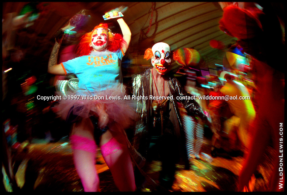 Chuckles the Clown and Rich Polysorbate at Kakophony Klownsex Klub, Los Angeles, CA, March 23, 1997.