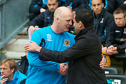 WIGAN, ENGLAND - Monday, May 3, 2010: Wigan Athletic's manager Roberto Martinez and Hull City's manager Iain Dowie during the Premiership match at DW Stadium. (Photo by David Rawcliffe/Propaganda)