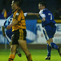 Alloa v St Johnstone..  02.11.02<br />Chris Hay celebrates his second goal<br /><br />Pic by Graeme Hart<br />Copyright Perthshire Picture Agency<br />Tel: 01738 623350 / 07990 594431