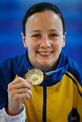 Rebecca Gallantree of City of Leeds Diving Club poses with her Gold Medal after winning the Womens 3m Springboard Final - Photo mandatory by-line: Rogan Thomson/JMP - 07966 386802 - 22/02/2015 - SPORT - DIVING - Plymouth Life Centre, England - Day 3 - British Gas Diving Championships 2015.