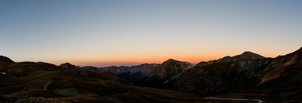 Panoramic view of sunset in the San Juan mountains of southwestern Colorado.
