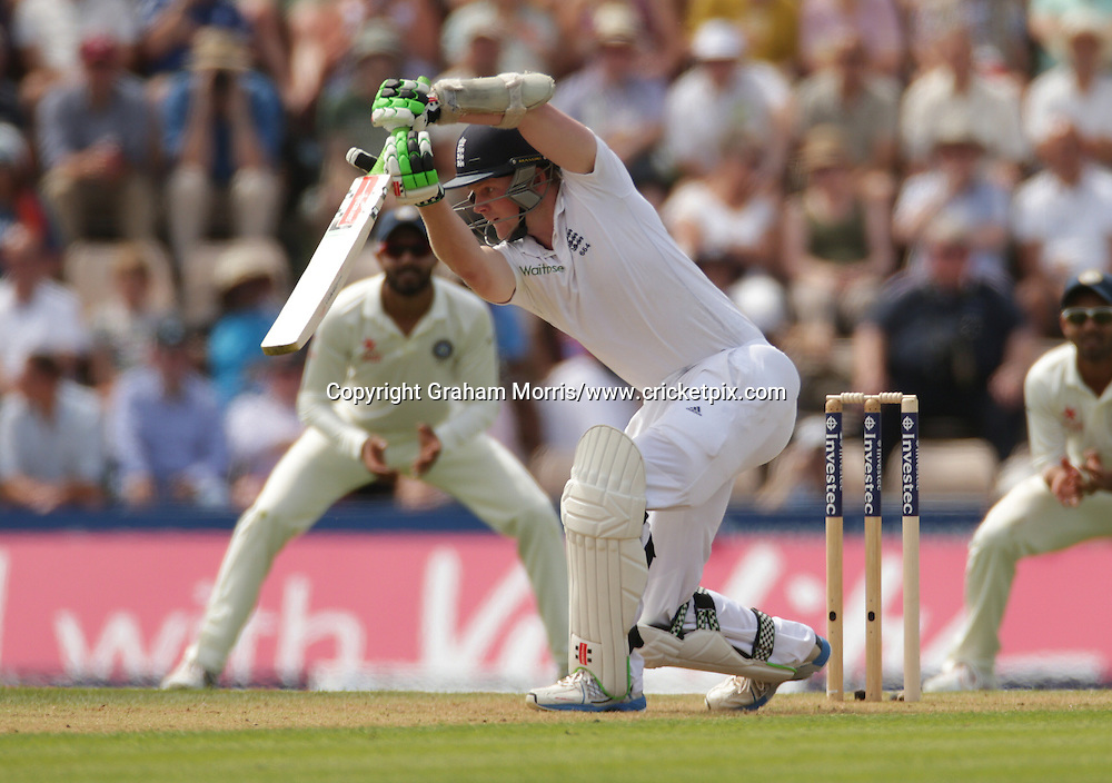 Sam Robson drives Mohammed Shami for four during the third Investec Test Match between England and India at the Ageas Bowl, Southampton. Photo: Graham Morris/www.cricketpix.com (Tel: +44 (0)20 8969 4192; Email: graham@cricketpix.com) 27/07/14