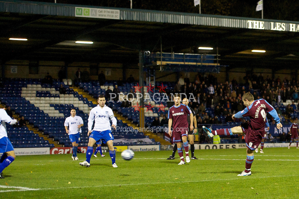 BURY, ENGLAND - Tuesday, November 9, 2010: Tranmere Rovers' Ian Thomas Moore scores the opening goal against Bury during the Football League Trophy match at Gigg Lane. (Pic by: David Rawcliffe/Propaganda)