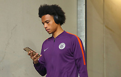 Manchester City's Leroy Sane arrives at the stadium ahead of the match