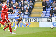 Reading FC striker Ola John shoots on goal during the Sky Bet Championship match between Reading and Cardiff City at the Madejski Stadium, Reading, England on 19 March 2016. Photo by Mark Davies.