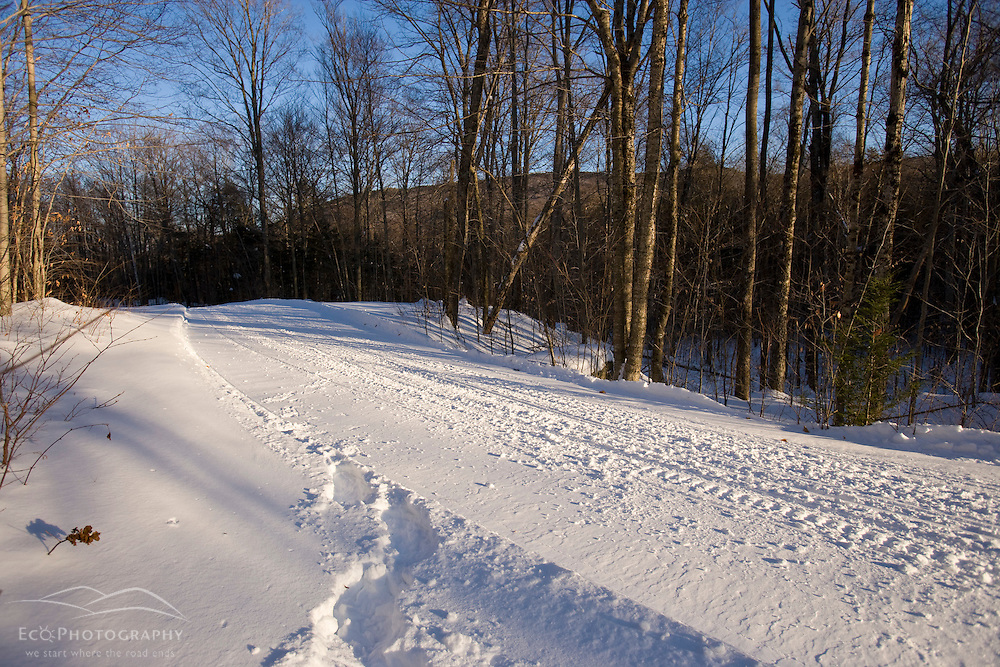 A snowmobile trail in Groton, New Hampshrie.