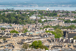 View of Saint Stephen's Church in Stockbridge  over rooftops of the New Town in Edinburgh, Scotland, United Kingdom, UK