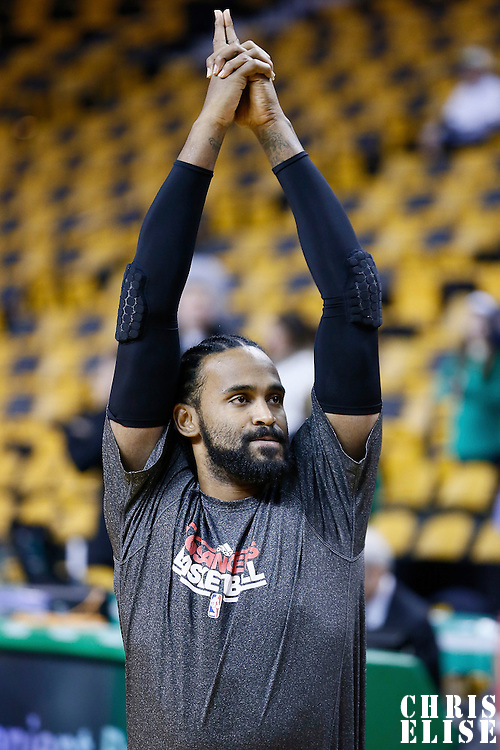 03 February 2013: Los Angeles Clippers center Ronny Turiaf (21) warms up prior the Boston Celtics 106-104 victory over the Los Angeles Clippers at the TD Garden, Boston, Massachusetts, USA.