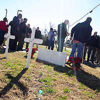 RAY VAN DUSEN/MONROE JOURNAL <br /> MEMORIAL SERVICE – Sheriff Cecil Cantrell says a few words at the beginning of a prayer vigil Friday for those lost in the Newtown, Conn., shootings. The sheriff's department placed 26 crosses in front of the Monroe County Detention Center as a tribute for those lost. In addition to Friday's vigil, Aberdeen High School JROTC cadets Derby and Bannan Beasley conducted a memorial service at the crosses Sunday. Last Friday, the nation observed a moment of silence at 9:30 a.m. Following the moment of silence, the City of Aberdeen had a short ceremony on the steps of City Hall and several churches throughout the county rang their bells 26 times in honor of those lost in the shootings.