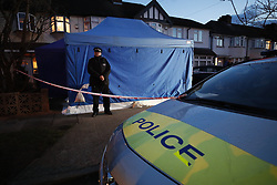 © Licensed to London News Pictures. 13/03/2018. London, UK. Police are seen at the house of Russian exile Nikolai Glushkov in south west London. Mr Glushkov,  a friend the late oligarch Boris Berezovsky, and a former deputy director of Russian state airline Aeroflot, died at his home in Monday night. credit: Peter Macdiarmid/LNP