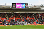 0-0 on the scoreboard after 24 minutes during the FIFA Women's World Cup UEFA Qualifier match between England Ladies and Wales Women at the St Mary's Stadium, Southampton, England on 6 April 2018. Picture by Graham Hunt.