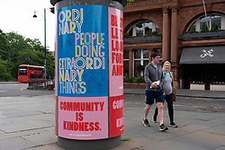 Edinburgh, Scotland, UK. 17 June, 2020. Views from Edinburgh city centre before expected relaxation of covid-19 lockdown by Scottish Government. Pictured; Posters advising positive thinking about coronavirus pandemic on street. Iain Masterton/Alamy Live News