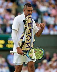 LONDON, ENGLAND - Thursday, July 4, 2019: Nick Kyrgios (AUS) looks dejected during the Gentlemen's Singles second round match on Day Four of The Championships Wimbledon 2019 at the All England Lawn Tennis and Croquet Club. Nadal won 6-3, 3-6. 6, 7-6. (Pic by Kirsten Holst/Propaganda)