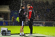 Tactical chat for MK Dons manager Karl Robinson during the The FA Cup match between Northampton Town and Milton Keynes Dons at Sixfields Stadium, Northampton, England on 9 January 2016. Photo by Dennis Goodwin.