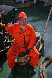 NORTH SEA ABOARD ARCTIC SUNRISE 11MAY11 - Bosun Paul Bilca of Romania on deck of the Greenpeace ship Arctic Sunrise...Photo by Jiri Rezac / Greenpeace