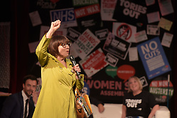 © Licensed to London News Pictures. 26/04/2016. Manchester, UK.  Actress and Comedian, Barbara Nice, at Saturday Night Live Manchester chat show event as part of the Take Back Manchester festival to protest the Conservative Party conference taking part in the city.  Photo credit: Steven Speed/LNP