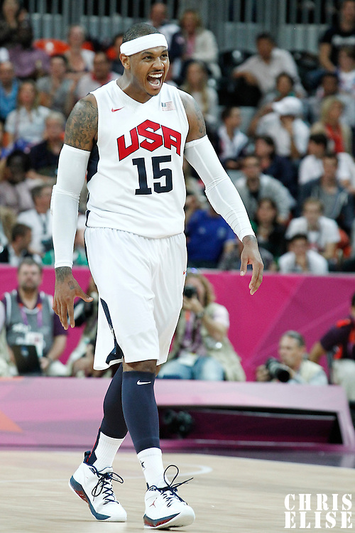 02 August 2012: Carmelo Anthony reacts during 156-73 Team USA victory over Team Nigeria, during the men's basketball preliminary, at the Basketball Arena, in London, Great Britain.