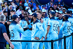 England celebrate beating New Zealand in the Cricket World Cup Final - Mandatory by-line: Robbie Stephenson/JMP - 14/07/2019 - CRICKET - Lords - London, England - England v New Zealand - ICC Cricket World Cup 2019 - Final