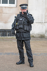 © Licensed to London News Pictures. 29/01/2015. London, UK. Scotland Yard is set to train hundreds more officers as a reserve firearms unit to deal with a possible terrorist gun attack on London. Met Commissioner Sir Bernard Hogan-Howe said the force was reviewing the number of armed officers in the wake of the Paris outrages.  FILE PICTURE (22/01/15) OF An armed Ministry of Defence (MOD) police officer on Horseguards amongst tourists and visitors during the changing of the guard. Armed police officers in and around central London today 22 January 2015. UK Foreign Secretary Philip Hammond said that ISIS is the greatest threat to the UK's security at the moment. Photo credit : Stephen Simpson/LNP