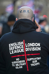 EDL supporter of the murdered soldier Lee Rigby outside the The Old Bailey, during the sentencing of his killers. London, United Kingdom. Wednesday, 26th February 2014.  Picture by i-Images