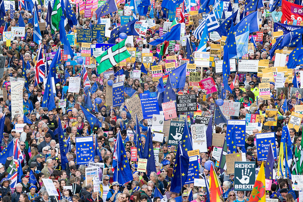 © Licensed to London News Pictures. 19/10/2019. London, UK. The People's Vote March makes its way towards Park Lane. Later today parliament will vote on the Prime Ministers EU Withdrawal Agreement.  Photo credit: George Cracknell Wright/LNP
