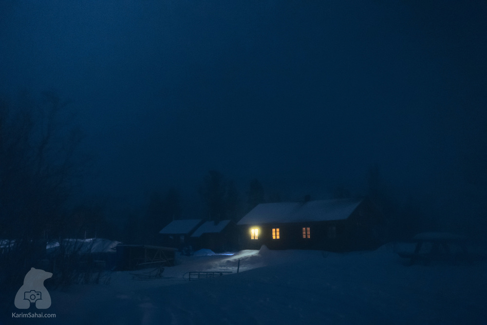 Dark and foggy winter night, Troms, Norway