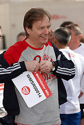 © Licensed to London News Pictures.  14/03/2012. LONDON, UK. Hugo Swire, MP for East Devon (pictured), prepares for the Sport Relief Westminster Mile run by MPs and Peers in St James Park each year in aid of the charity. The Mile was won by George Eustice (not pictured), MP for Camborne, Redruth and Hayle in a time of 5 minutes 28 seconds. Photo credit :  Cliff Hide/LNP