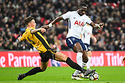 Newport County Defender Ben White (6) and Tottenham Hotspur Midfielder Moussa Sissoko (17) battle for the ball during the The FA Cup 4th round replay match between Tottenham Hotspur and Newport County at Wembley Stadium, London, England on 7 February 2018. Picture by Stephen Wright.