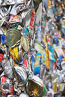 Pile of tin cans full frame