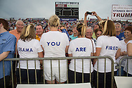 Aug. 21. 2015 Mobile, AL, Trump supporters at his campaign pep rally in Ladd Peebles Stadium. These women are all party of the Republican Party and plan to vote for Trump. <br /> Around 20 thousand came to the Ladd-Peebles Stadium to attend Trumps campaign pep rally. 40,000 were expected to come.