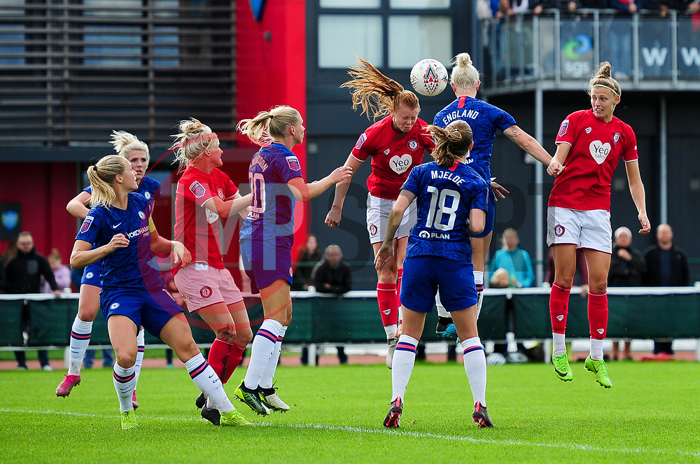Meaghan Sargeant of Bristol City contends for the aerial ball with Bethany England of Chelsea Women - Mandatory by-line: Ryan Hiscott/JMP - 29/09/2019 - FOOTBALL - SGS College Stoke Gifford Stadium - Bristol, England - Bristol City Women v Chelsea Women - FA Women's Super League