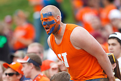 Nov 26, 2011; Charlottesville VA, USA;  A Virginia Cavaliers fan with face paint in the stands before the game against the Virginia Tech Hokies at the Scott Stadium.  Mandatory Credit: Jason O. Watson-US PRESSWIRE