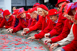 © Licensed to London News Pictures. 11/11/2015. London, UK. Ruislip Red Hatters throw remembrance poppies to the fountains in Trafalgar Square during Silence in the Square event as part of Armistice Day on Wednesday, 11 November 2015. Photo credit: Tolga Akmen/LNP