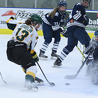 5th year forward Kylie Gavelin (13) of the Regina Cougars in action during the Women's Hockey Homeopener on October 7 at Co-operators arena. Credit: Arthur Ward/Arthur Images