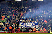 The Chelsea fans put up a John Terry banner and let off a smoke bomb during the Barclays Premier League match between Liverpool and Chelsea at Anfield, Liverpool, England on 11 May 2016. Photo by Mark P Doherty.