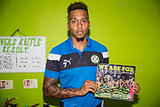 """Forest Green Rovers Keanu Marsh-Brown(7) with a copy of """"We Are FGR"""" during the EFL Sky Bet League 2 match between Forest Green Rovers and Morecambe at the New Lawn, Forest Green, United Kingdom on 28 October 2017. Photo by Shane Healey."""