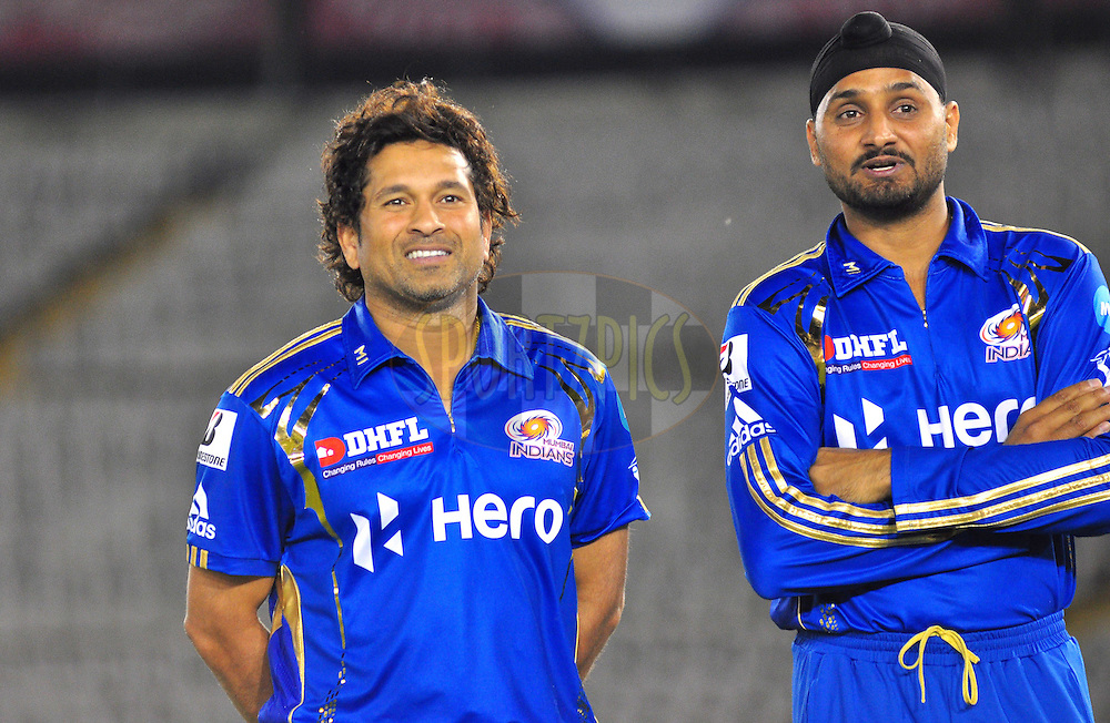 Mumbai Indians captian Harbhajan singh with Sachin Tendulkar during match 33 of the the Indian Premier League ( IPL) 2012  between The Kings X1 Punjab and The Mumbai Indians held at the Punjab Cricket Association Stadium, Mohali on the 25th April 2012..Photo by Arjun Panwar/IPL/SPORTZPICS