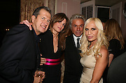 MARIO TESTINO, JEMIMA KHAN, DONATELLA VERSACE AND GIANCARLO GIACOMETTI, Dinner hosted by Elizabeth Saltzman for Donatella Versace. Claridge's Hotel, Brook Street, Mayfair, London. 11 March 2008.  *** Local Caption *** -DO NOT ARCHIVE-© Copyright Photograph by Dafydd Jones. 248 Clapham Rd. London SW9 0PZ. Tel 0207 820 0771. www.dafjones.com.
