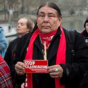 France, Paris December 2015 COP 21 UN Climate Conference. Indigenous people with a Red Line on the Pont des Arts