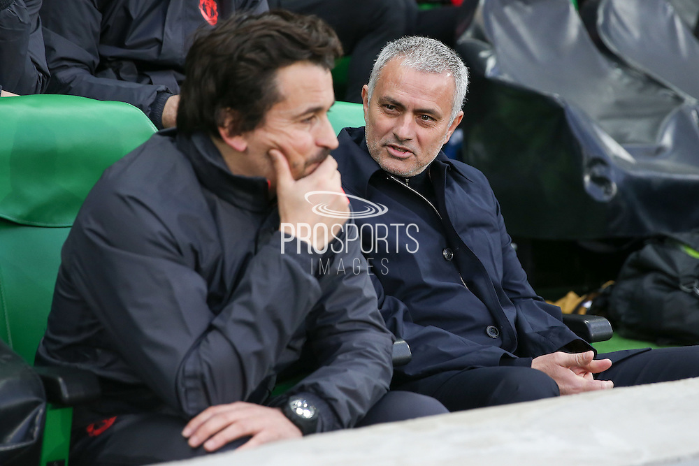 Jose Mourinho Manager of Manchester United Manager shares a smile during the Europa League match between Saint-Etienne and Manchester United at Stade Geoffroy Guichard, Saint-Etienne, France on 22 February 2017. Photo by Phil Duncan.