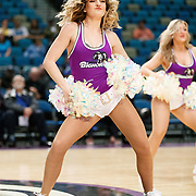 The Lady Bighorn Dancers perform during a quarter break of the Western Conference Semi-Final NBA G-League Basketball game between the Reno Bighorns and the South Bay Lakers at the Reno Events Center in Reno, Nevada.