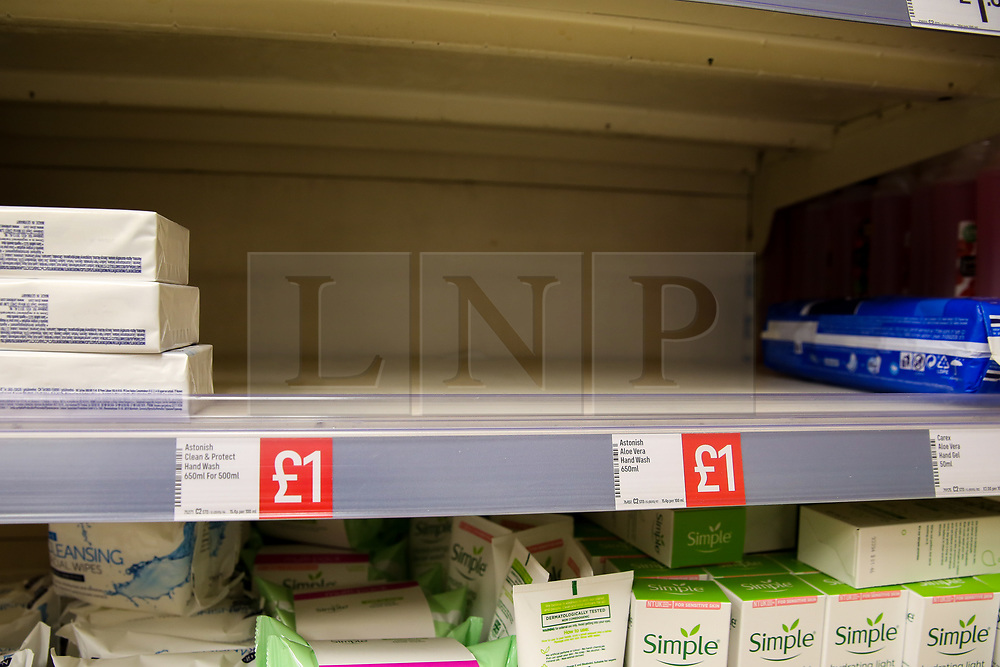 © Licensed to London News Pictures. 03/03/2020. London, UK. An Iceland supermarket store in London runs out of hand wash amid increased number of cases of Coronavirus (COVID-19) in the UK. Prime Minister Boris Johnson will set out the Government's action plan to tackle the spread of coronavirus. Photo credit: Dinendra Haria/LNP