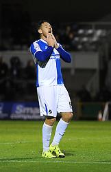 Tom Parkes of Bristol Rovers cuts a dejected figure as his shot goes wide - Mandatory byline: Dougie Allward/JMP - 07966 386802 - 06/10/2015 - FOOTBALL - Memorial Stadium - Bristol, England - Bristol Rovers v Wycombe Wanderers - JPT Trophy